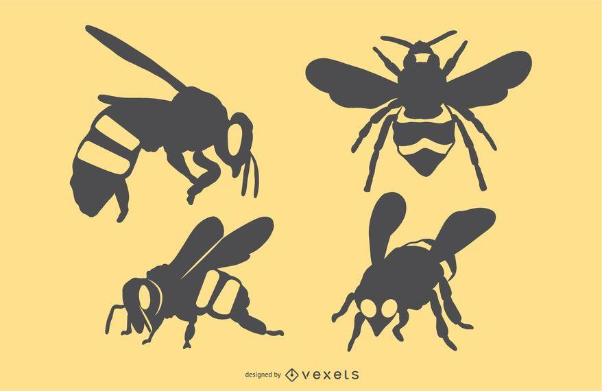 Conjunto de silhueta de abelha