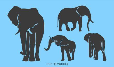 Conjunto de silhueta de elefante