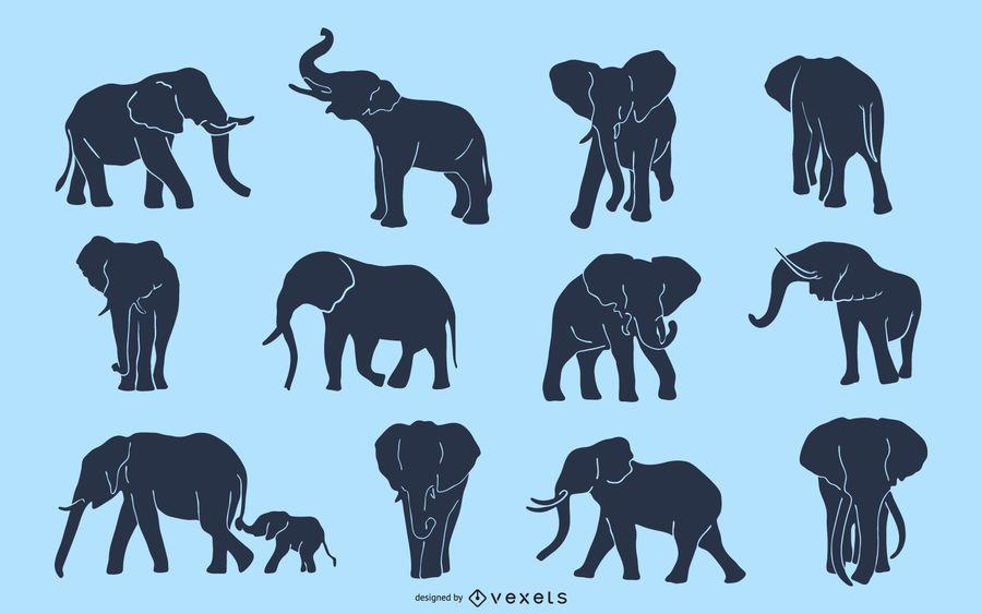 Elefant Silhouette Set
