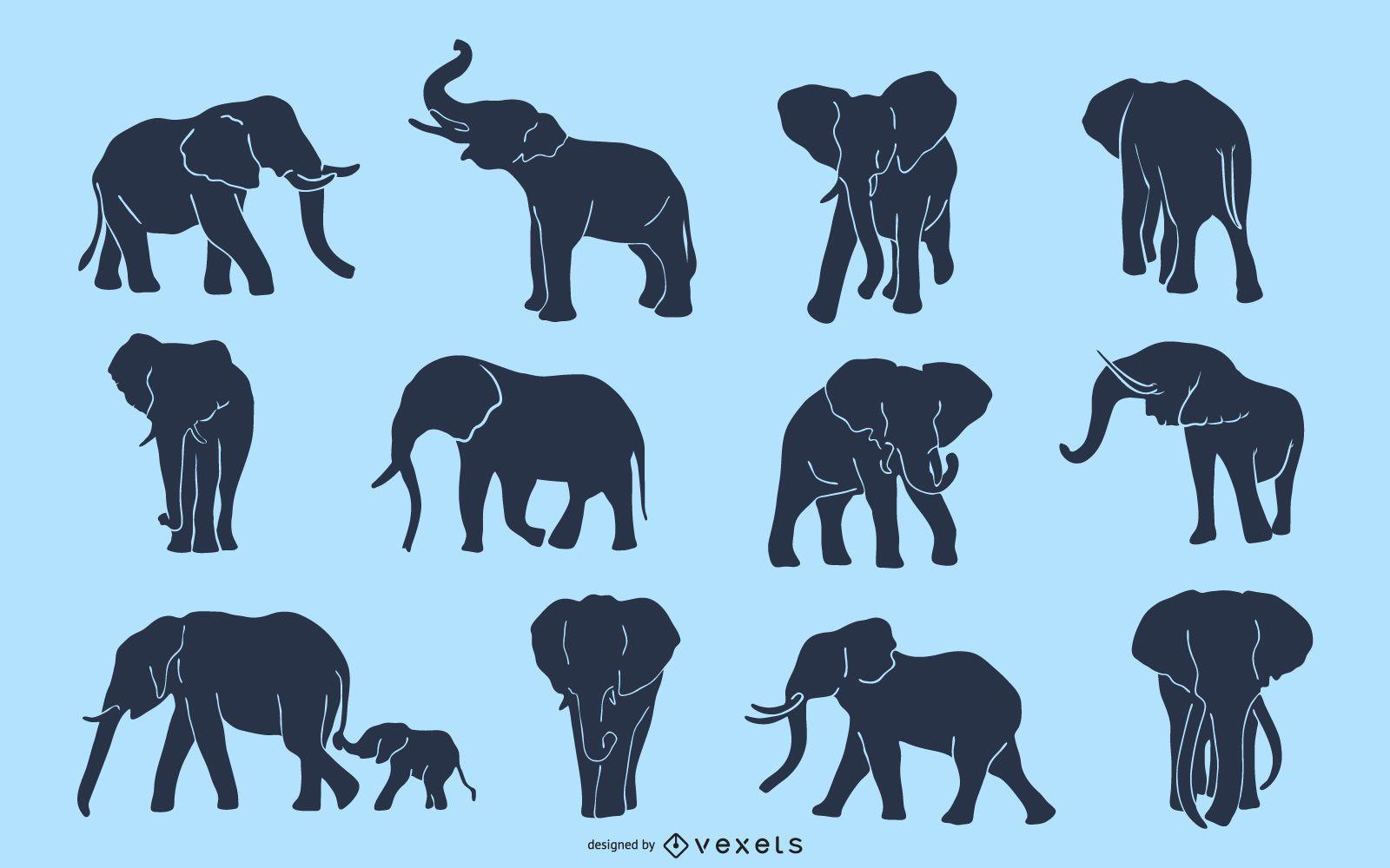 Paquete de diseño de silueta de elefante