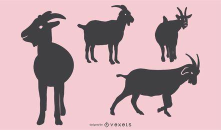 Conjunto de diseño de silueta de cabra