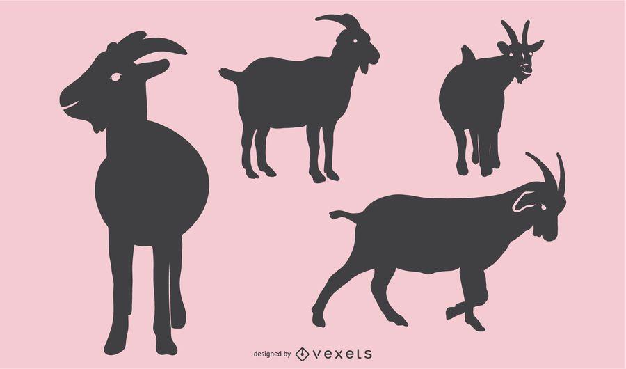Conjunto de Design de silhueta de cabra