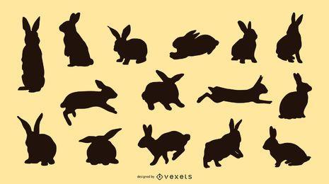 Conjunto de silhueta de coelho