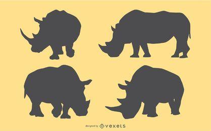 Conjunto de silhueta de rinoceronte