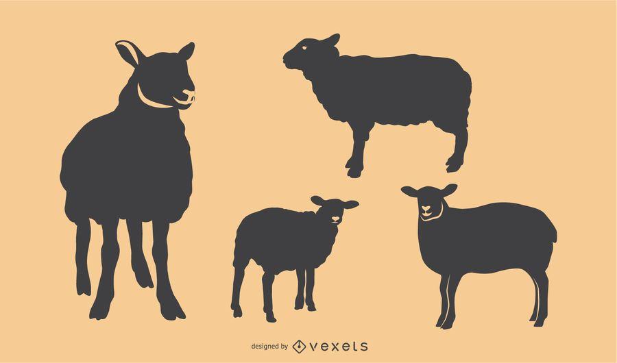 Conjunto de silhueta de ovelhas