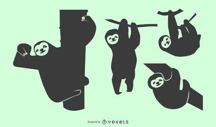 Conjunto de Design de silhueta de preguiça