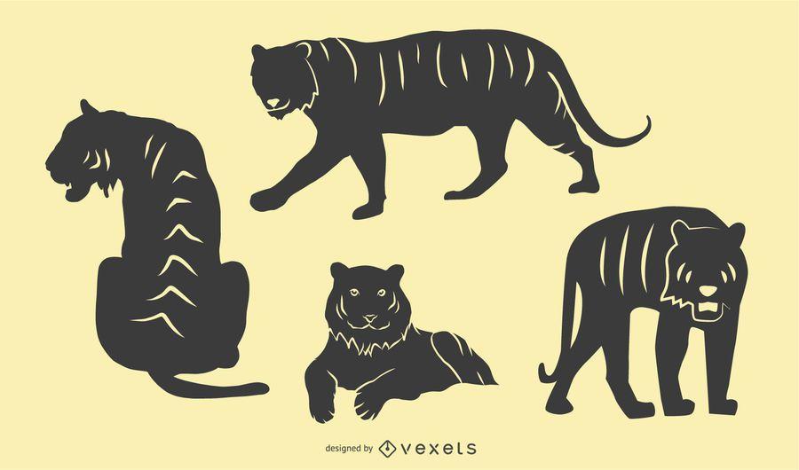 Conjunto de silueta de tigre