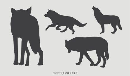 Conjunto de silueta de lobo