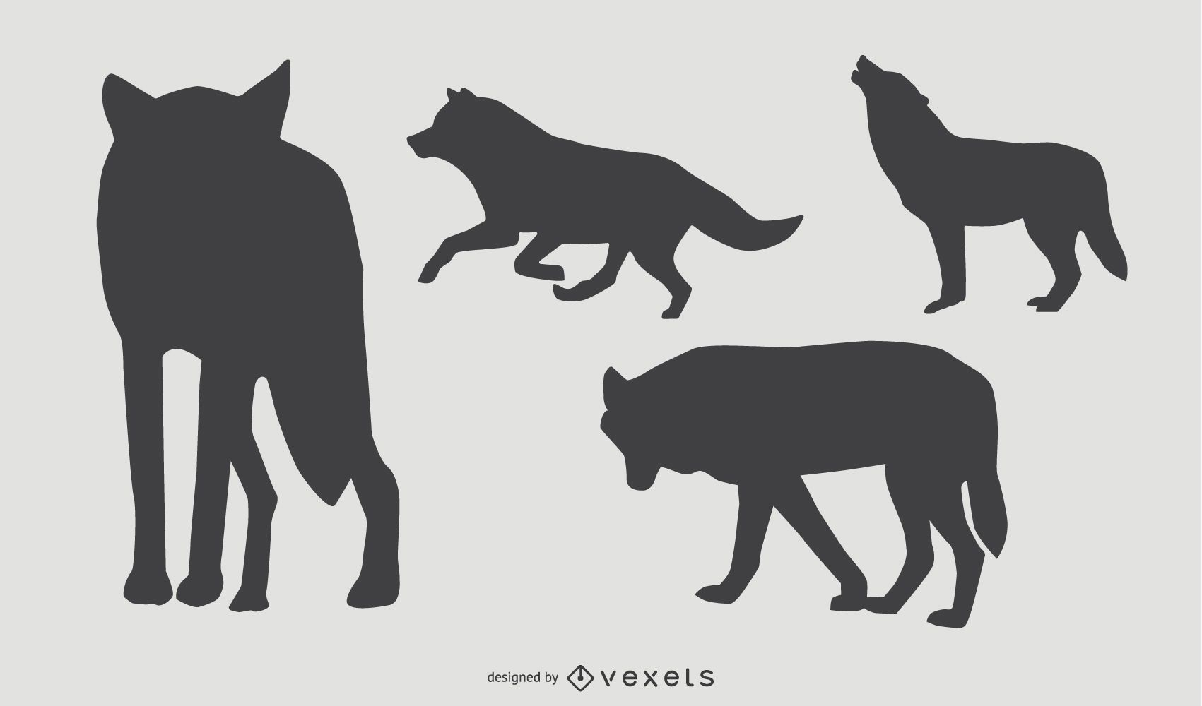 Wolf Silhouette Set Vektor Download