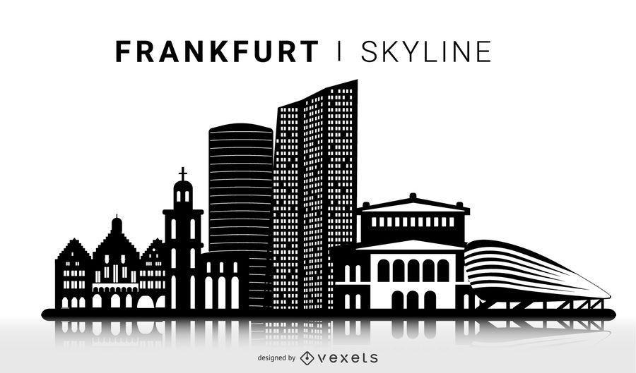 Frankfurt Skyline Silhouette Design