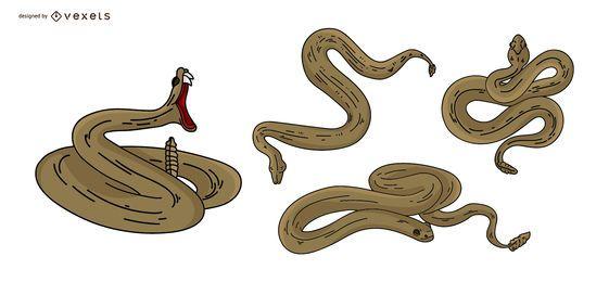 Conjunto de ilustração colorida de cobra