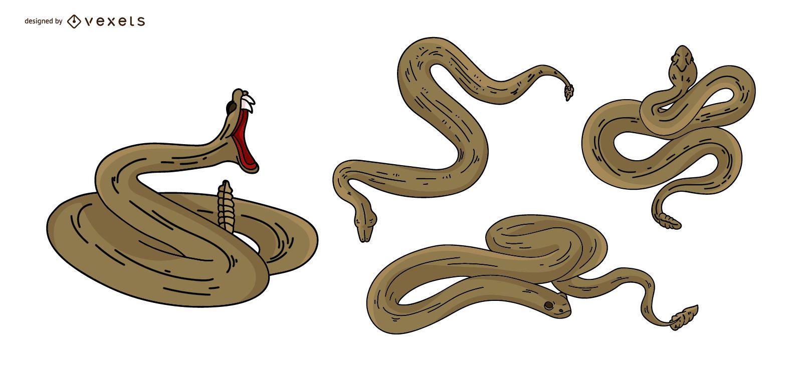 Snake Colored Illustration Set