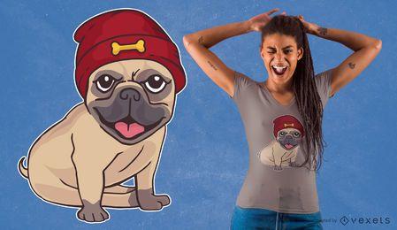 Projeto do t-shirt do Pug do chapéu do Beanie