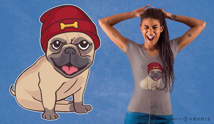 Beanie Hat Pug T-Shirt Design