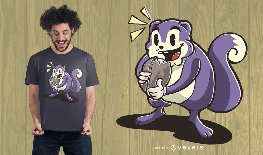 Diseño de camiseta de ardilla hambrienta