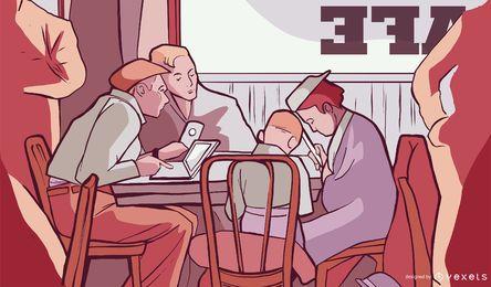 Diseño de ilustración de cafetería