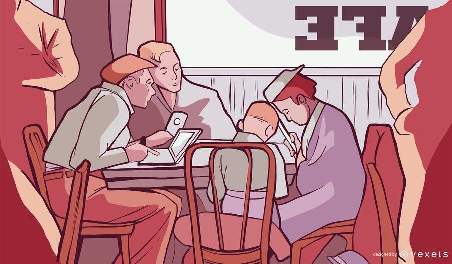 Design de ilustração de loja de café