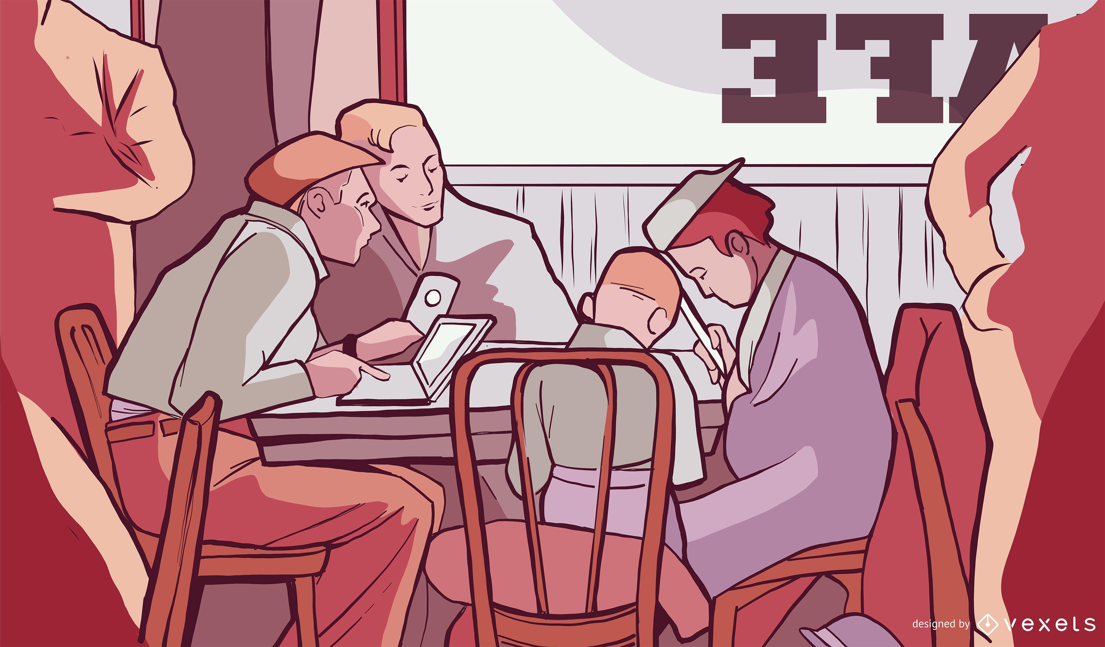 Coffee Shop Illustration Design