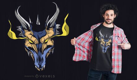 Diseño de camiseta de dragón poderoso