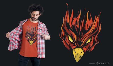 Diseño de camiseta de Phoenix ardiendo fuerte