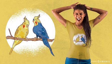 Projeto do t-shirt do casal do pássaro da aguarela