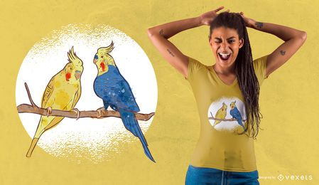 Watercolor Bird Couple T-Shirt Design