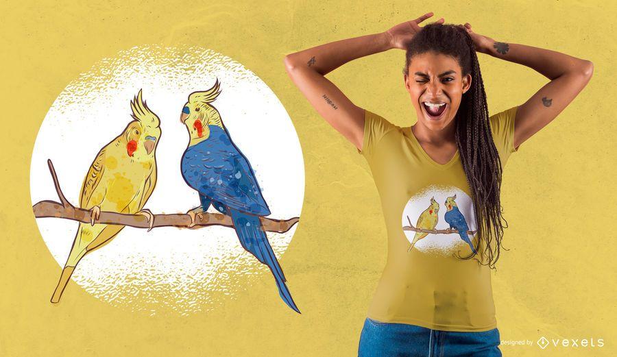 Watercolor Bird Couple T-Shirt Design