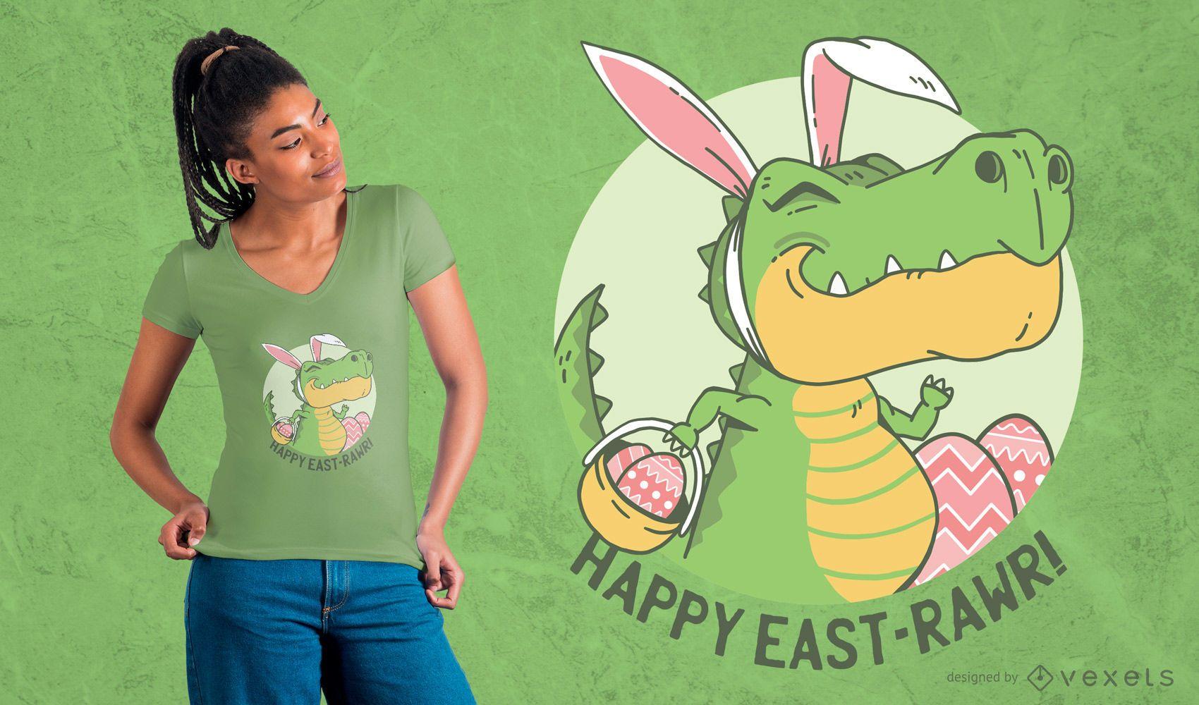 Diseño de camiseta de dinosaurio de Pascua