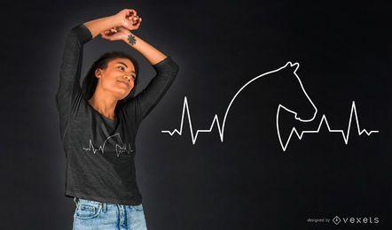 Projeto do t-shirt da pulsação do coração do cavalo