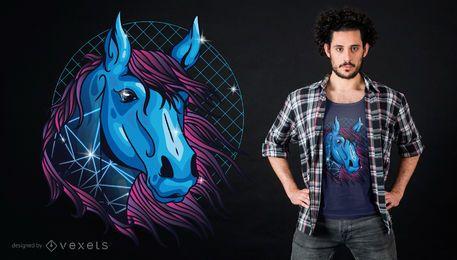 Diseño de camiseta de caballo de neón
