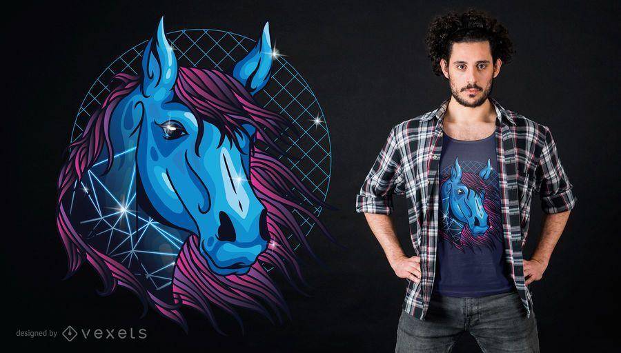 Projeto de néon do t-shirt do cavalo