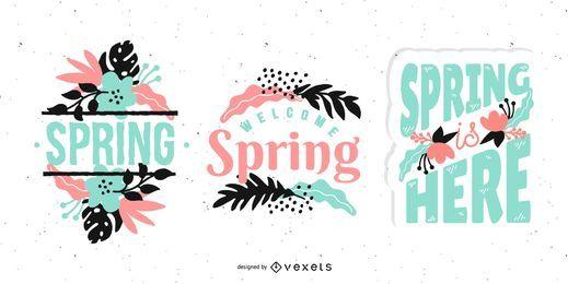Conjunto floral de letras de primavera