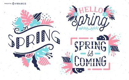 Conjunto de diseño floral de primavera