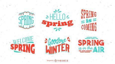 Conjunto de Design de rotulação de temporada de primavera