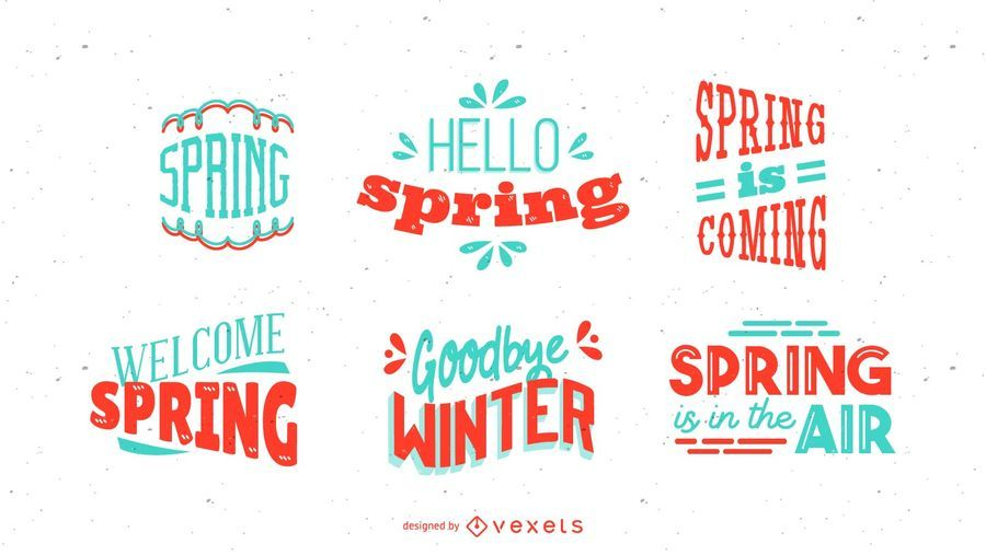 Spring Season Lettering Design Set