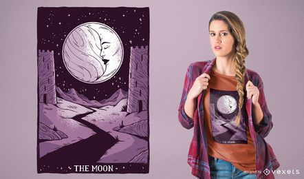 O projeto do t-shirt do Tarot da lua