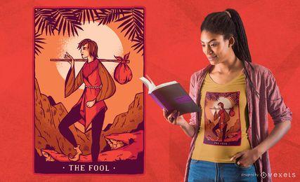 O projeto do t-shirt da plataforma do Tarot do tolo