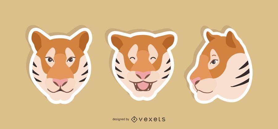 Conjunto de pegatinas de tigre