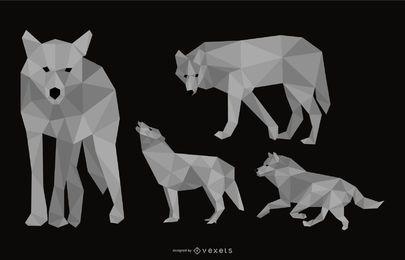 Conjunto de ilustração poligonal de lobo