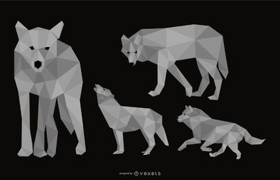 Wolf Polygonal Illustration Set