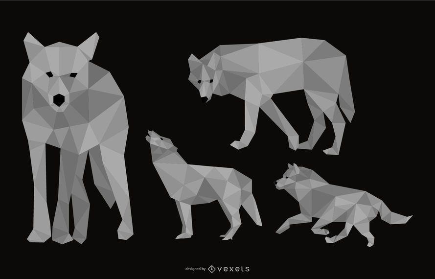 Conjunto de ilustración poligonal de lobo