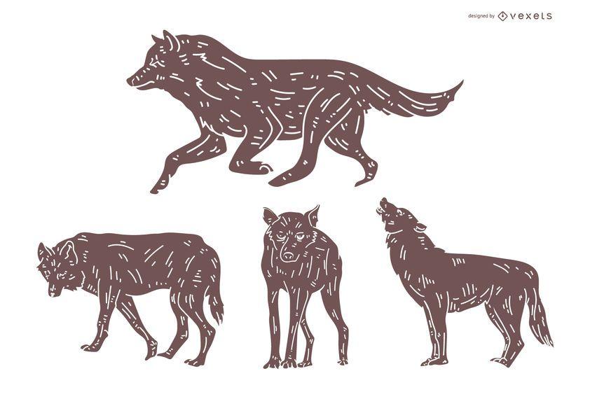 Conjunto de silueta detallada de lobo