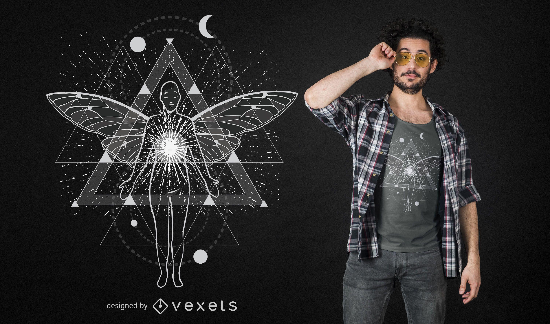 Diseño de camiseta de viaje astral geométrico