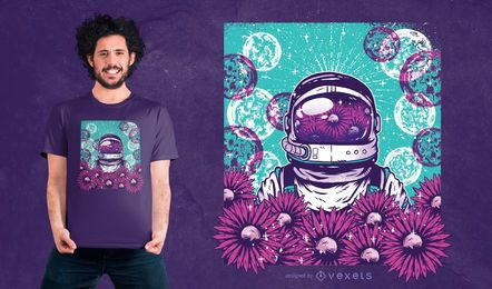 Design floral do t-shirt do astronauta