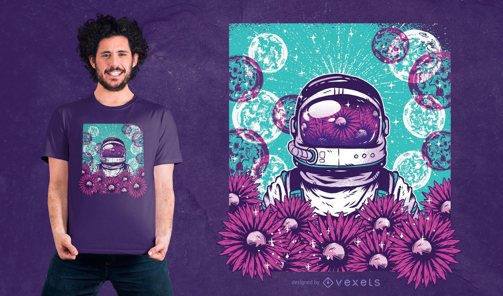 Dise?o de camiseta de astronauta floral