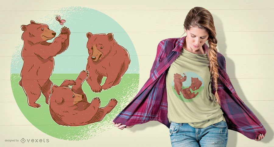 Playing Bear Cubs T-Shirt Design