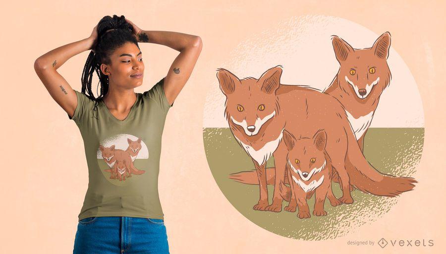 Diseño de camiseta de la familia Fox