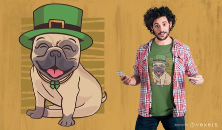 Design do t-shirt do Pug do dia de St Patrick
