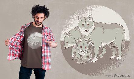 Diseño de camiseta de familia lobo