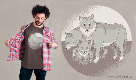 Diseño de camiseta familiar de lobo
